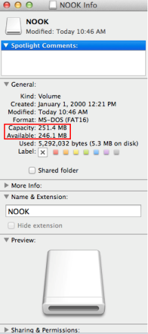 Screenshot showing NOOK information on a Mac computer