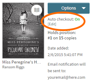 Screenshot of the auto checkout setting for a title on the holds page