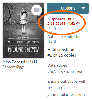 Screenshot of the hold suspended notification on the holds page