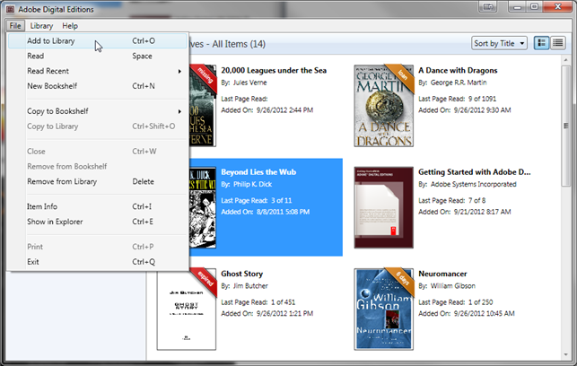 Screenshot showing the Add to Library file menu option
