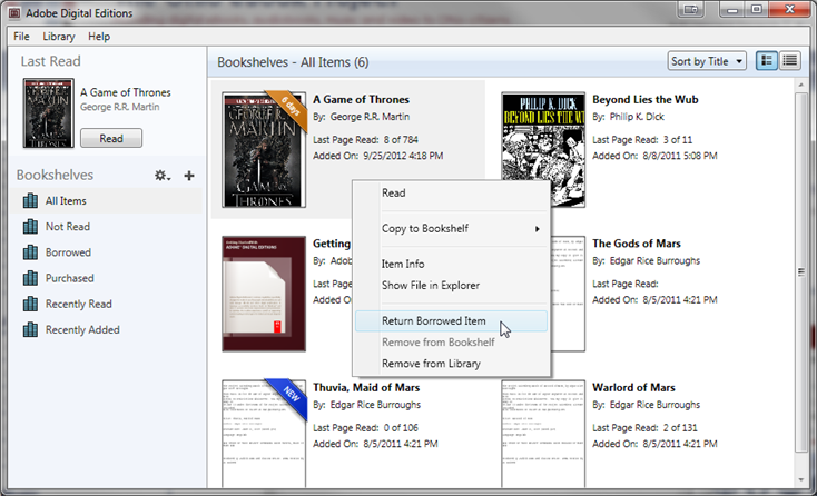 Screenshot showing the right-click menu on an eBook in ADE.
