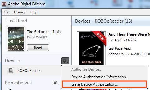 Screenshot highlighting the Erase Device Authorization button in ADE
