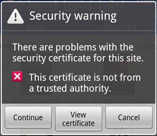Screenshot of the security warning.
