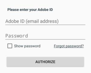 Adobe Authorization fields. See instructions above