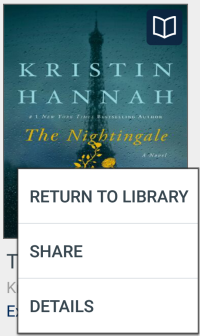 Return options for a title on the app bookshelf. See instructions below