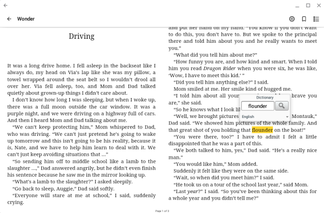 The dictionary pop-up in OverDrive for Chromebook