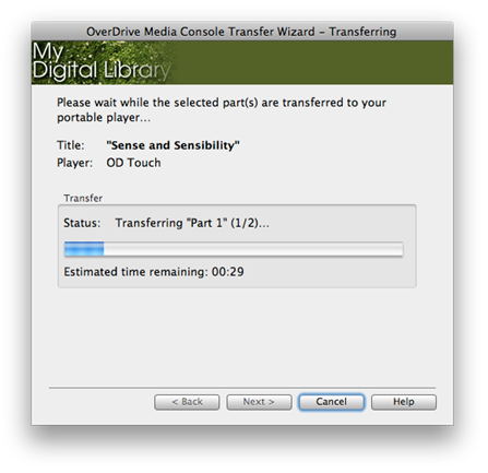 Screenshot of the Transfer Wizard showing the transfer progress.