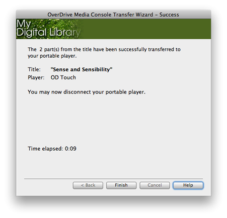 Screenshot of the Transfer Wizard after a successful transfer.