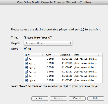 Audiobook parts selected in the transfer wizard. See instructions above.