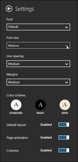 The Settings pane with the adjust font size menu