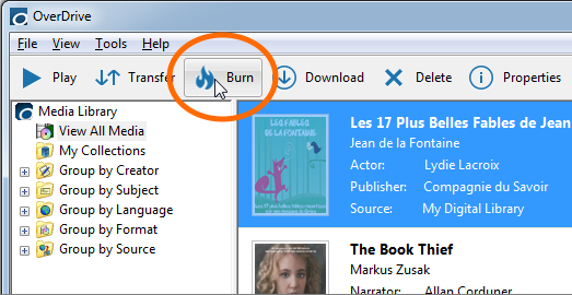 The Burn button in OverDrive for Windows. See instructions above.