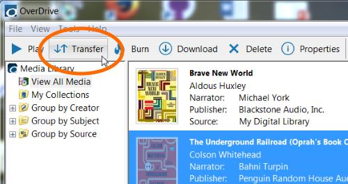 Bouton Transfer (Transfert) dans OverDrive pour Windows. Voir les instructions ci-dessus.