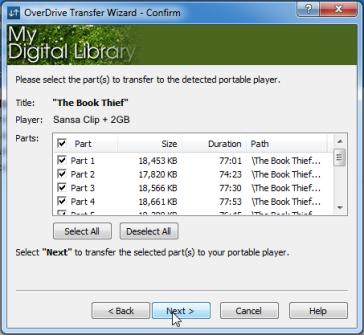 Sélection de sections à transférer dans le Transfer Wizard (Assistant de transfert). Voir les instructions ci-dessus.