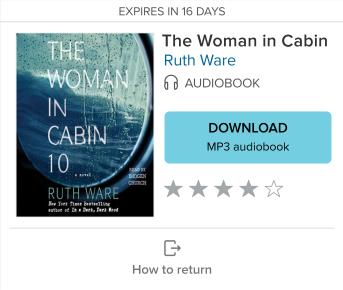 The download option for a borrowed audiobook. See instructions above.