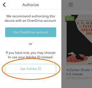 Use my Adobe ID button in Settings. See instructions above.