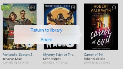 Share option from the app bookshelf. See instructions above.