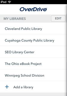 Screenshot of the library list in OverDrive's app