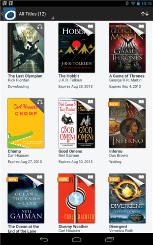 Screenshot showing the app bookshelf