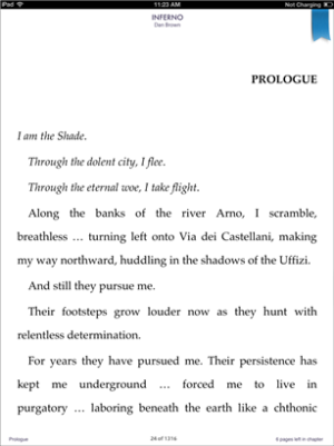 Screenshot showing the eBook reader
