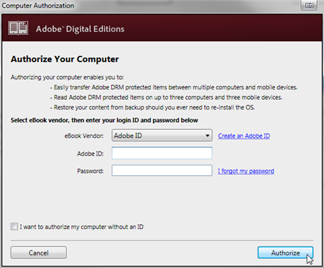 Screenshot showing the authorization window for ADE