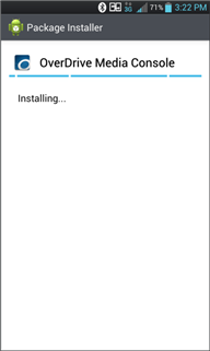 Screenshot showing the installation progress