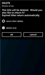 Screenshot of the OverDrive Media Console delete screen with return then delete selected