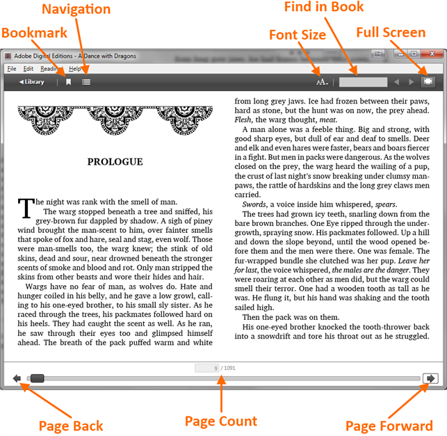Screenshot showing the button layout of the ADE reader screen