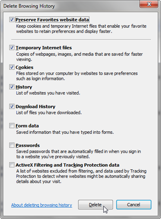 Screenshot of delete browsing history window for Internet Explorer with default options selected