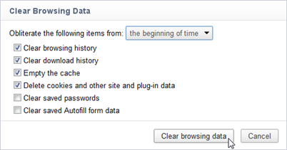 Screenshot of clear browsing data window for Google Chrome with default options selected