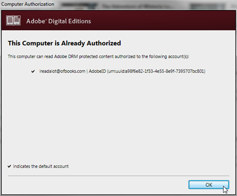Screenshot showing the Adobe ID authorization window.