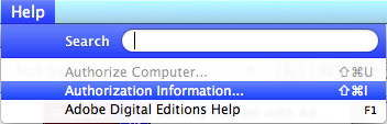 Screenshot showing Authorization Information selected from the ADE Help menu.