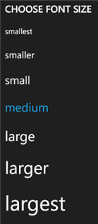 The text size options for Windows Phone.