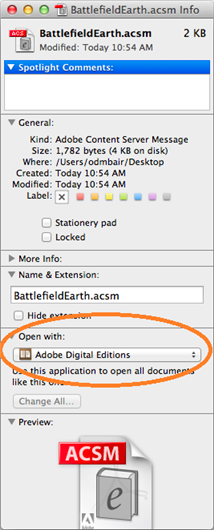 Get info window open with Open with Adobe Digital Editions selected