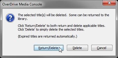 Screenshot showing the Return Delete dialog