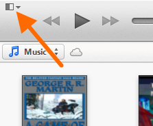 Screenshot highlighting the menu button in iTunes