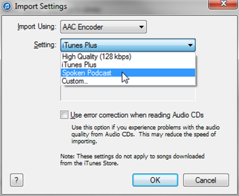 Screenshot showing the import settings drop down menu