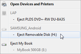 Safely remove hardware and eject media device list