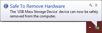 Save to remove hardware dialog that appears after ejecting your device