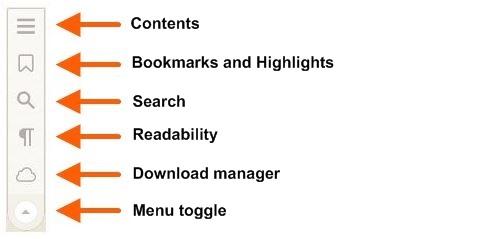 Screenshot of the OverDrive Read navigation menu