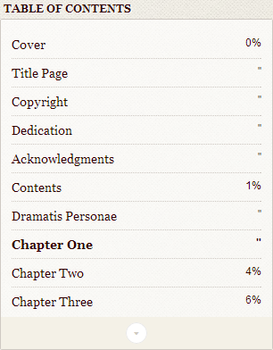 Screenshot showing a table of contents