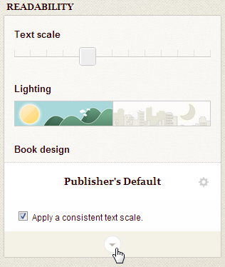 Screenshot of readability panel