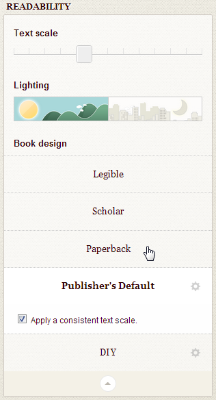 Screenshot of expanded readability panel