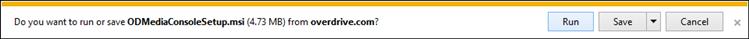 Capture d'écran montrant les options d'exécution ou d'ouverture à partir d'Internet Explorer