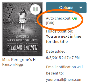 Screenshot of the autocheckout option for a title on hold