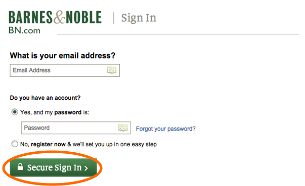 Barnes and Noble sign in page. See instructions above