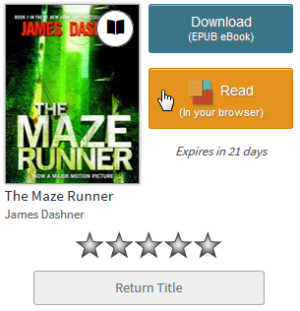 The Read button for a borrowed eBook. See instructions above.
