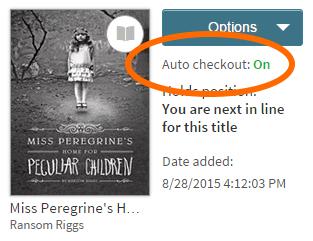 Option Auto-checkout (Emprunt automatique) pour un titre réservé Voir les instructions ci-dessus.