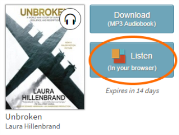 Listen button for a borrowed audiobook. See instructions above.