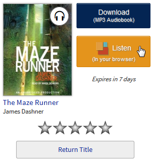 An audiobook on a library checkouts page with the OverDrive Listen option