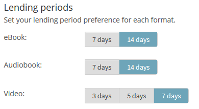 Example lending period options on the settings page